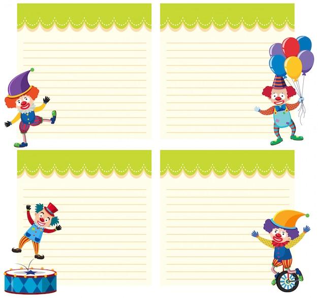 Ensemble de clown sur le modèle de note Vecteur Premium
