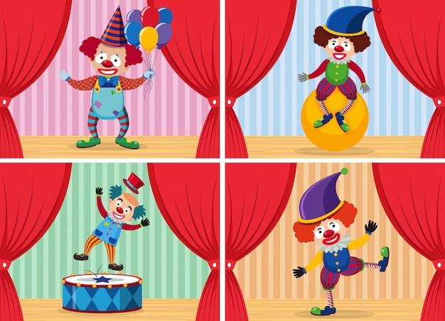 Ensemble de clown sur scène Vecteur Premium