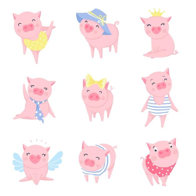 Ensemble de cochons roses mignons Vecteur Premium