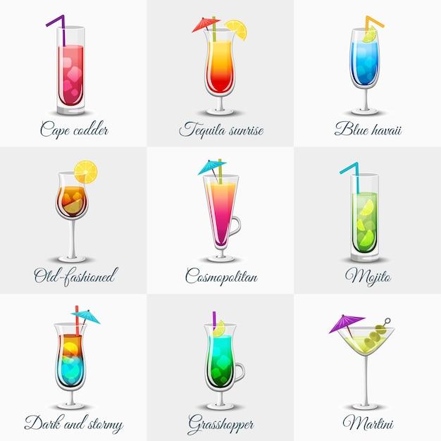 Ensemble De Cocktails Alcoolisés Classiques Vecteur gratuit