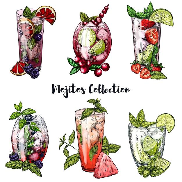Ensemble De Cocktails Mojito Aux Baies Vecteur Premium