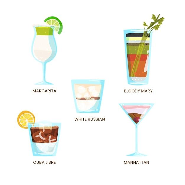 Ensemble De Cocktails Rafraîchissants Dessinés à La Main Vecteur gratuit