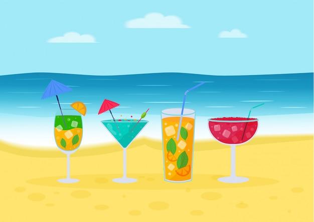 Ensemble De Cocktails Tropicaux. Boissons D'été Alcoolisées Dans Des Verres Sur La Plage, Mojito, Vodka, Sambuca, Martini, Jus De Fruits, Bloody Mary. Vecteur Premium