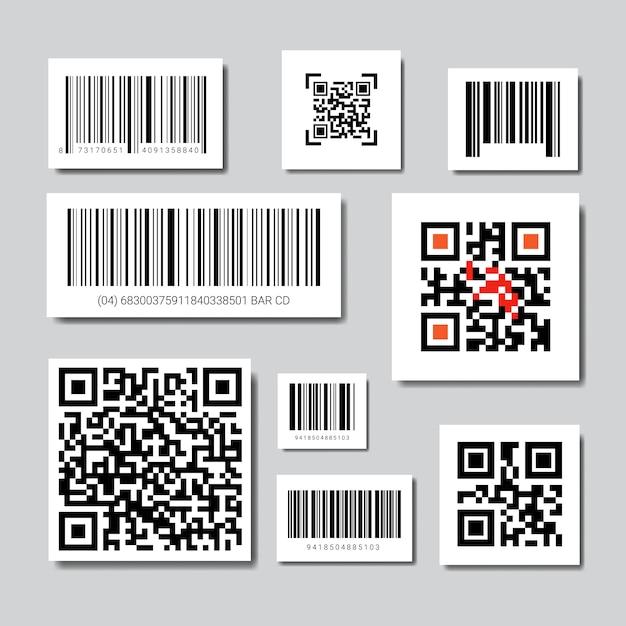 Ensemble de codes barres et qr pour la numérisation des icônes collection Vecteur Premium