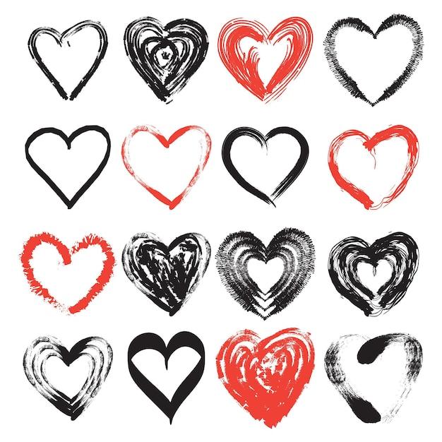 Ensemble De Coeur De Style Dessiné à La Main Vecteur gratuit
