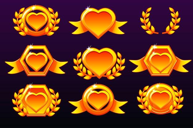 Ensemble De Coeurs. Modèles D'or Pour Les Récompenses, Création D'icônes Pour Les Jeux Mobiles. Vecteur Premium