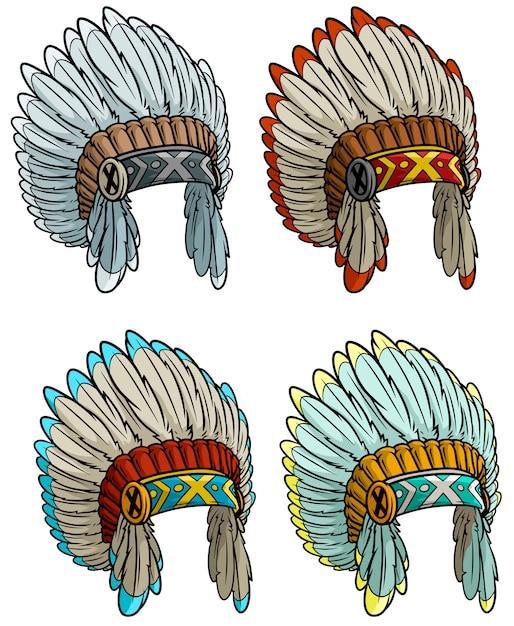 Ensemble de coiffe de chef indien amérindien Vecteur Premium
