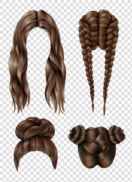 Ensemble de coiffures féminines Vecteur Premium