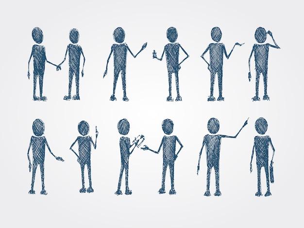 Ensemble de collaboration personnes personnes doodle Vecteur gratuit