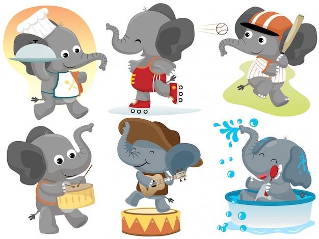 Ensemble de collection d'activités de dessin animé drôle d'éléphant Vecteur Premium