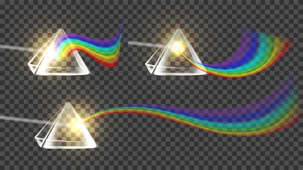 Ensemble De Collection Arc-en-ciel Prism And Spectrum Vecteur Premium