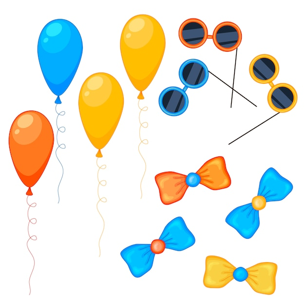 Ensemble de collection de ballons, lunettes et arcs Vecteur Premium