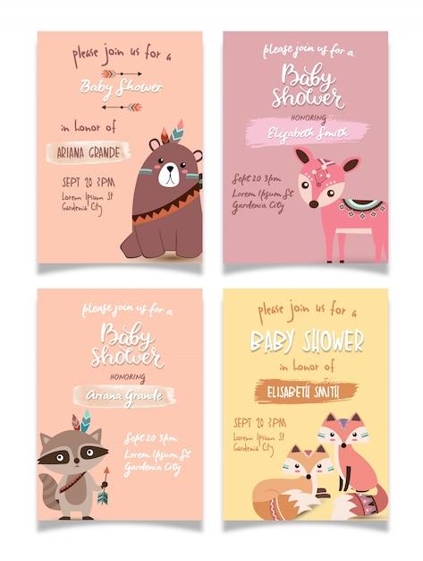 Ensemble de collection de cartes de bébé baby shower Vecteur Premium