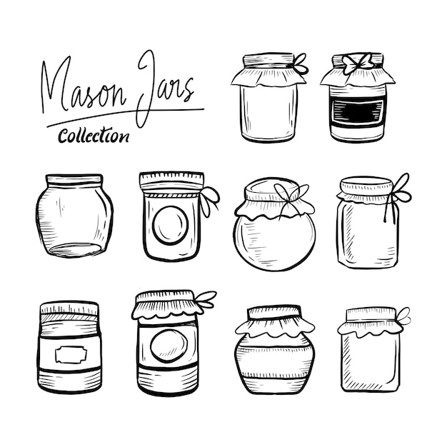 Ensemble De Collection Classique Dessiné à La Main De Pots Mason Vecteur Premium