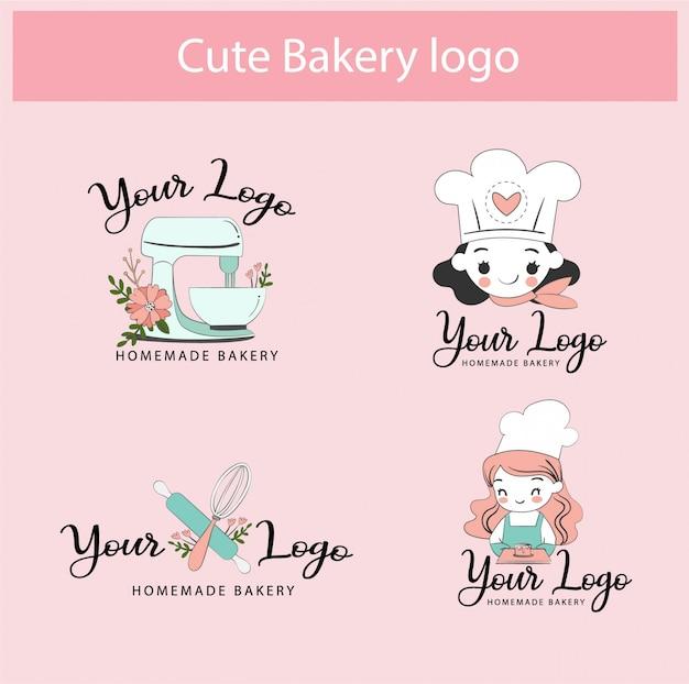 Ensemble De Collection De Conception De Modèle De Logo De Boulangerie Mignon Vecteur Premium