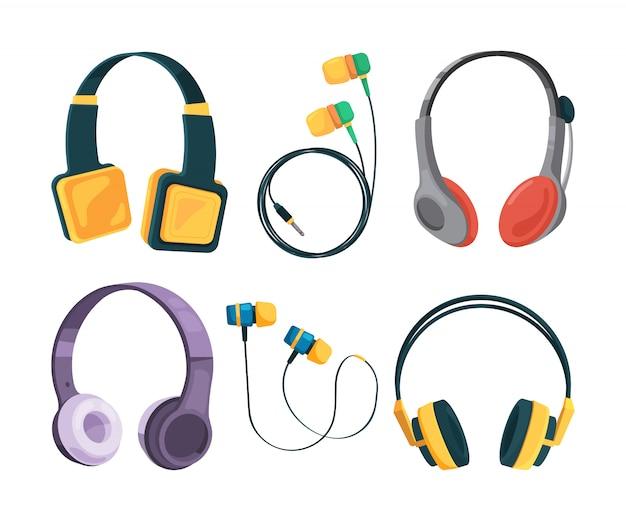 Ensemble de collection de différents écouteurs en style cartoon Vecteur Premium