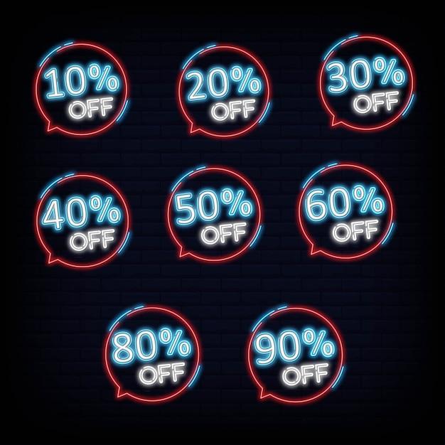 Ensemble collection discount néon bannière lumière bannière élément de design coloré design moderne tendance nuit lumineux publicité signe lumineux Vecteur Premium