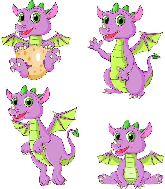 Ensemble de collection de dragons de dessin animé Vecteur Premium