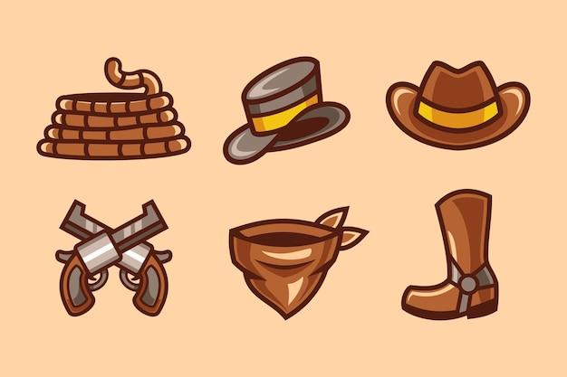 Ensemble De Collection D'éléments Western Cowboy Vecteur Premium