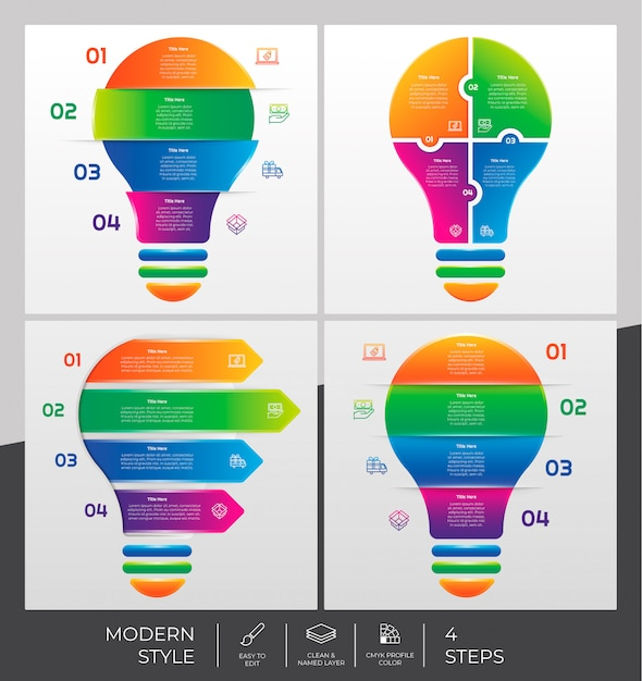 Ensemble De La Collection De L'étape Infographique Avec 4 étapes Et Style Coloré à Des Fins De Présentation, D'affaires Et De Marketing. Vecteur Premium