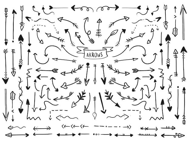 Ensemble de collection de flèche dessinés à la main. Vecteur Premium