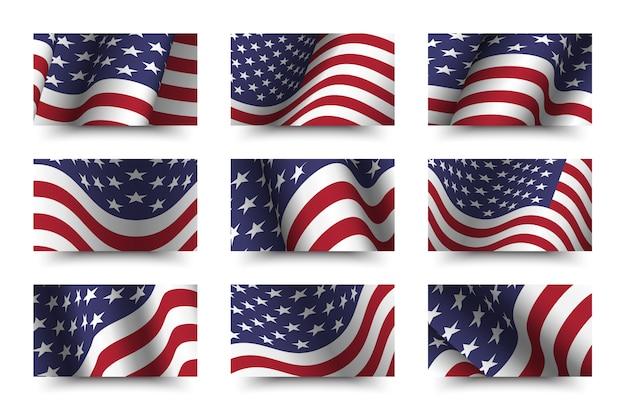 Ensemble de collection de fond de drapeau de l'amérique. design ondulant. concept du jour de l'indépendance du 4 juillet. Vecteur Premium