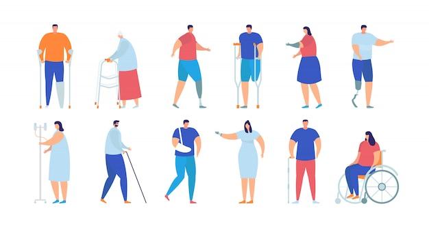Ensemble De Collection Isolée Illustration De Personnes Handicapées, Blessés Et Malades. Vecteur Premium