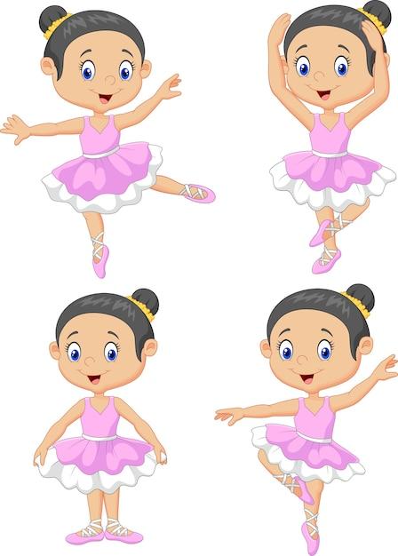 Ensemble de collection little girl baller dancer Vecteur Premium