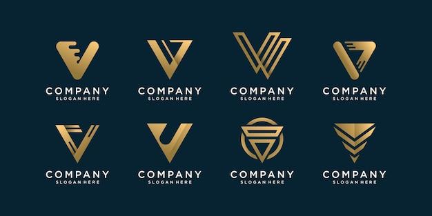 Ensemble De Collection De Logo Lettre V Avec Concept Doré Vecteur Premium