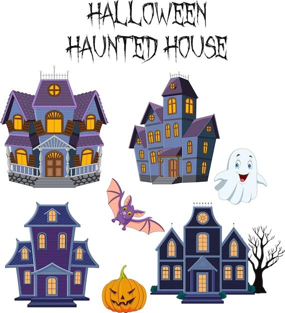 Ensemble de collection de maison hantée d'halloween Vecteur Premium