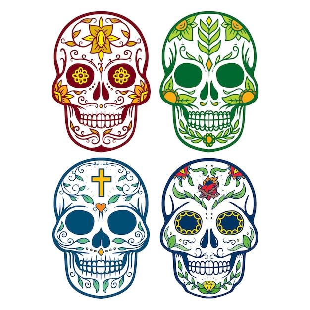 Ensemble de collection de muertos crâne Vecteur Premium
