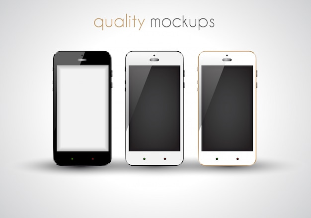 Ensemble De Collection Réaliste De Smartphone De Maquettes De Style Moderne élégant Vecteur Premium