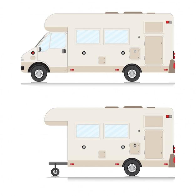 Ensemble De Collection De Roulottes De Camping Rétro. Vecteur Premium