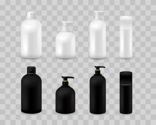 Ensemble de collection vide emballage cosmétique isolé sur damier transparent. ensemble cosmétique réaliste de bouteille. shampoing et crème. couleur noire et blanche Vecteur Premium