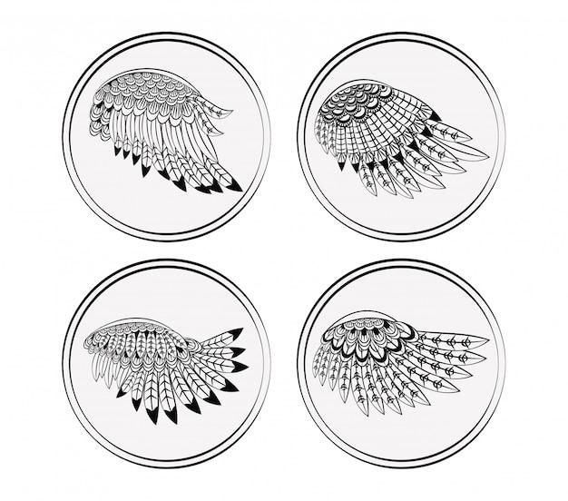 Ensemble de collections d'ailes rondes Vecteur Premium