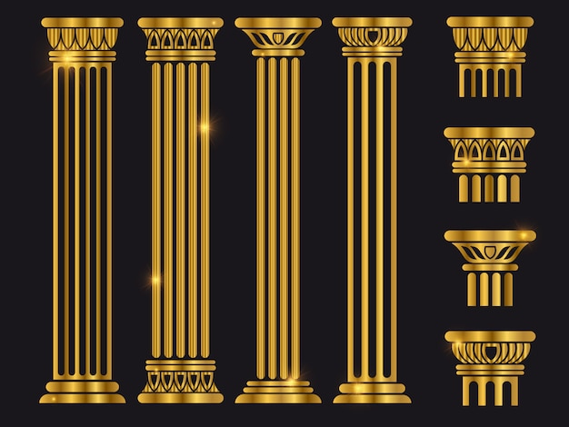 Ensemble de colonnes d'architecture rome antique Vecteur Premium