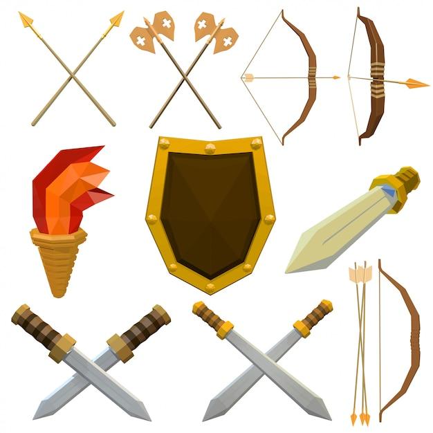 Ensemble coloré d'armes médiévales isolé sur blanc Vecteur Premium