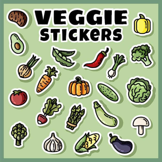 Ensemble coloré d'autocollants de légumes. collection d'étiquettes plates végétariennes Vecteur Premium
