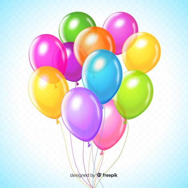 Ensemble coloré de ballons d'anniversaire Vecteur gratuit