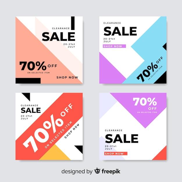Ensemble coloré de bannières de vente modernes pour les médias sociaux Vecteur gratuit