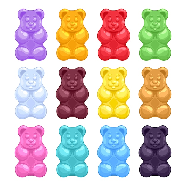 Ensemble coloré de beaux oursons gélifiés réalistes de gelée. bonbons sucrés Vecteur Premium