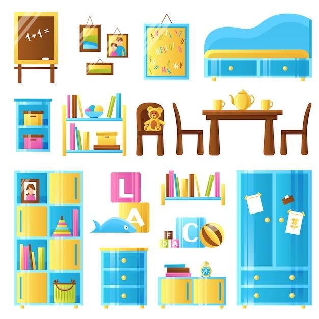 Ensemble coloré de meubles de chambre de bébé Vecteur gratuit