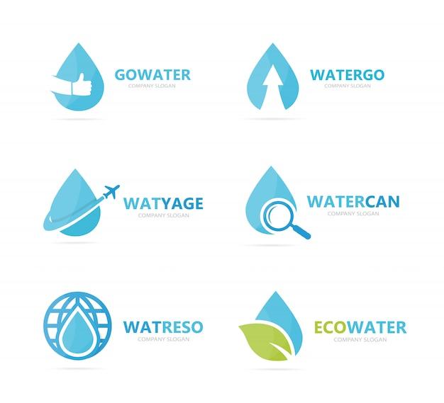 Ensemble De Combinaison De Logo Goutte D'eau. Modèle De Conception De Logotype D'huile Et De Gouttelettes. Vecteur Premium