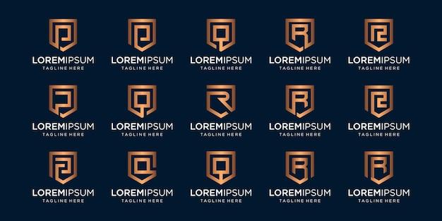 Ensemble De Combinaison De Signe Monogramme Et Bouclier Lettre Prq. Vecteur Premium