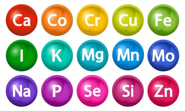 Ensemble De Compléments Minéraux Complexe Multivitaminé D Bubbles Vecteur Premium
