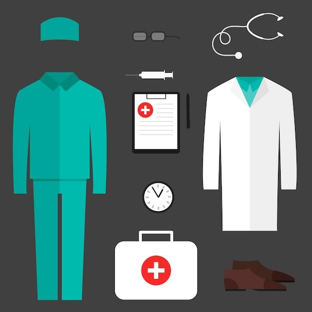 Ensemble complet de vêtements médicaux Vecteur Premium