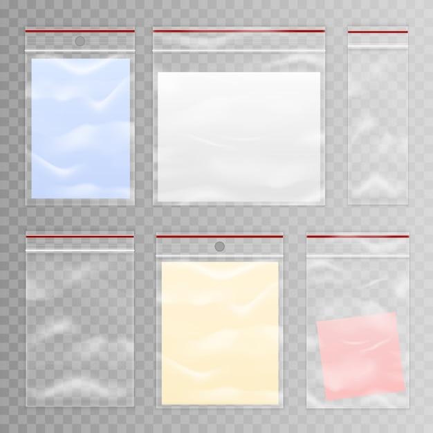 Ensemble complet et vide de sacs en plastique transparent Vecteur gratuit