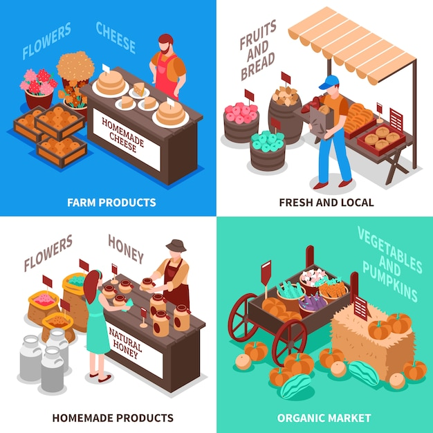 Ensemble de compositions de marché de marchand de légumes Vecteur gratuit