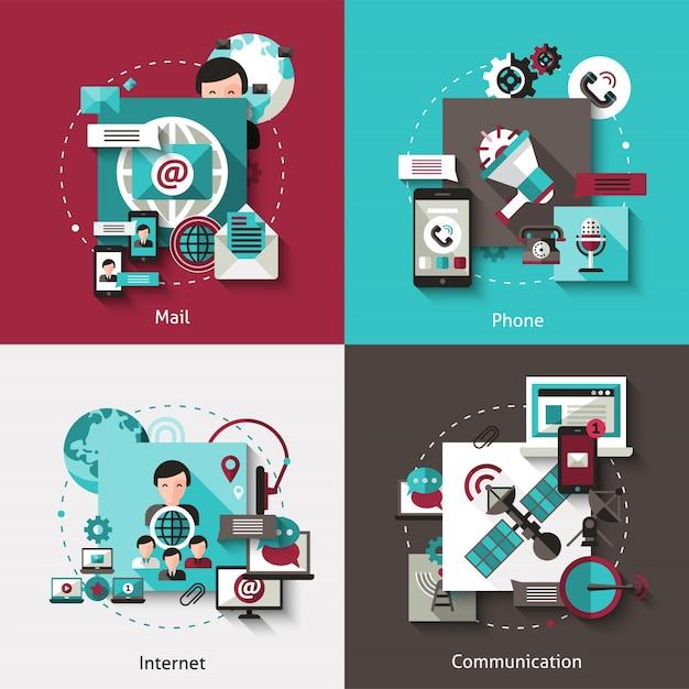 Ensemble De Concept De Communication Design Vecteur gratuit