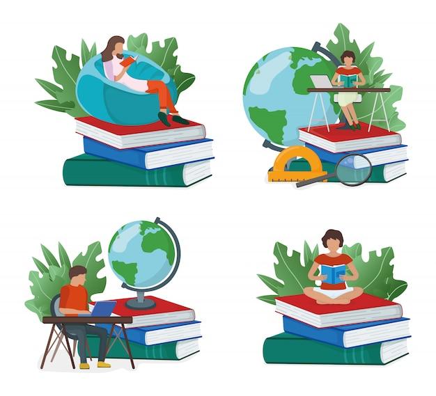 Ensemble De Concept étude En Ligne, Minuscules Personnes Assises Pile De Livres Isolé Vecteur Premium